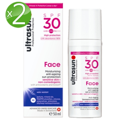 Ultrasun優佳 護顏修護防曬乳SPF30*2入組PA+++(50ml/罐)