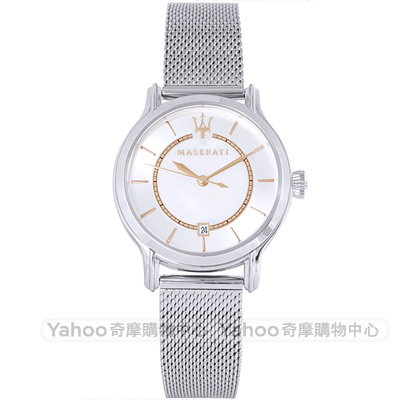 MASERATI 瑪莎拉蒂EPOCA時尚米蘭帶手錶-銀/34mm