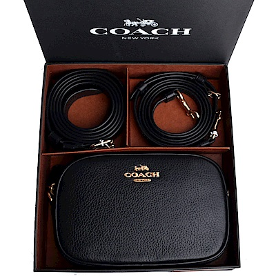 COACH 立體LOGO荔枝紋相機包/窄版皮帶禮盒組