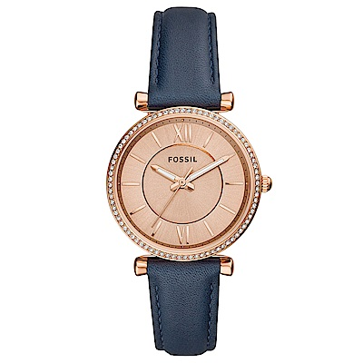 FOSSILCarlie優雅晶鑽真皮手錶(ES 4485 )-玫瑰金X藍/ 35 mm