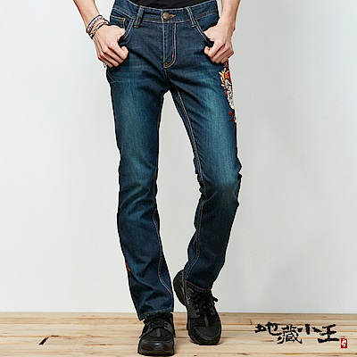 地藏小王 BLUE WAY  變幻自在系列x焰幻化地藏精繡丹寧低腰直筒褲(深藍)