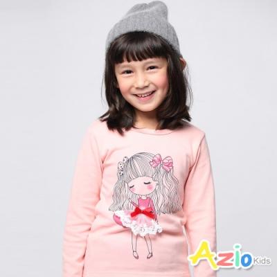 Azio Kids 女童 上衣 長髮女孩蕾絲裙襬長袖上衣 (粉)