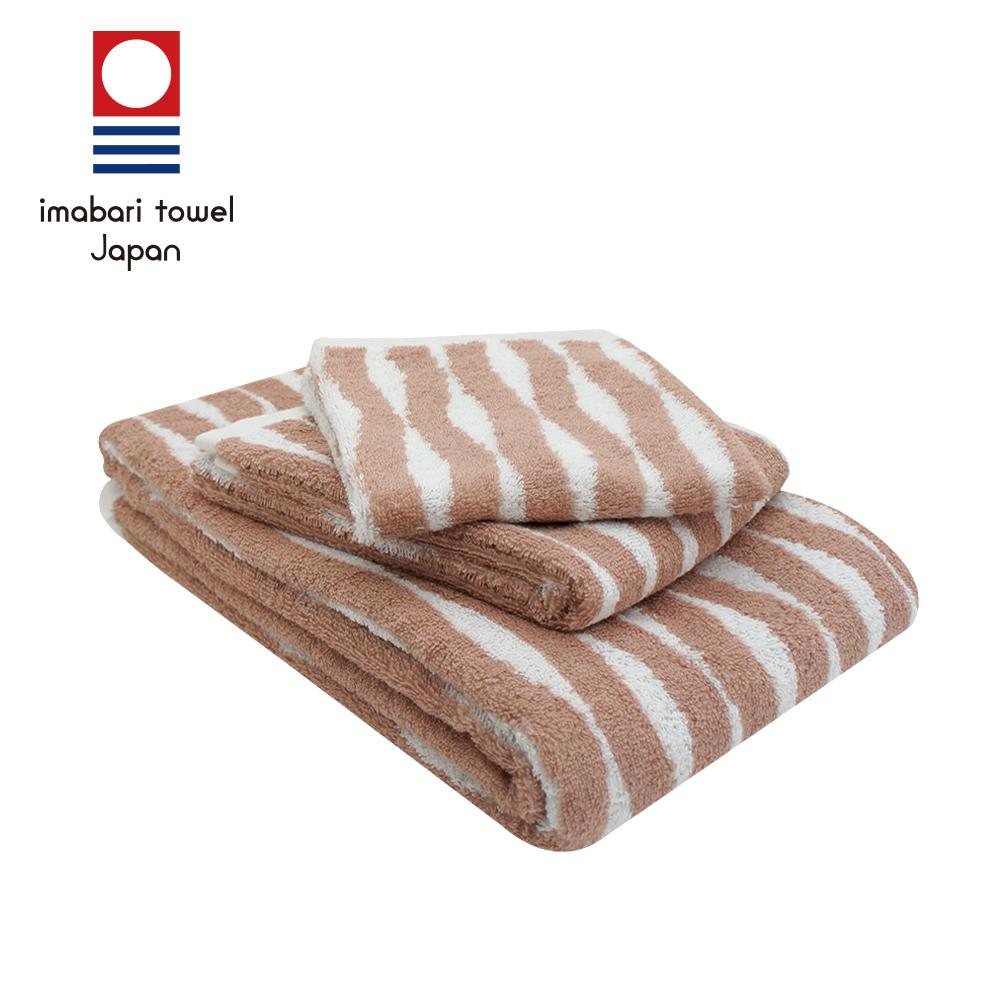 日本今治  純天然有機棉無染色方毛浴巾禮盒組-海波紋-粉藕紅