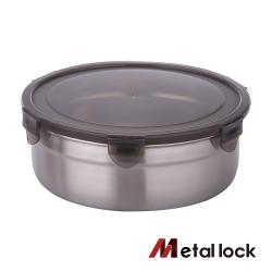 韓國Metal lock圓形不鏽鋼保鮮盒1900ml.露營野餐不銹鋼金屬環保收納大容量