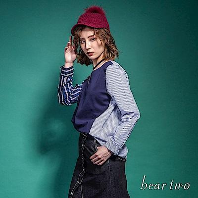 beartwo 時尚不對稱拼接條紋造型襯衫(藍色)