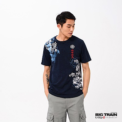 BIG TRAIN 加大織田武將魂圓領短袖-男-深藍