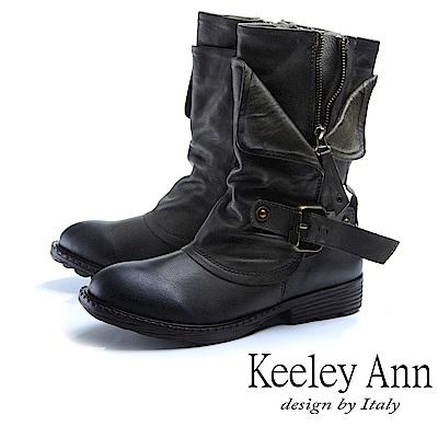 Keeley Ann 鉚釘龐克~個性環釦拉鍊層次真皮低跟中筒靴(綠色)