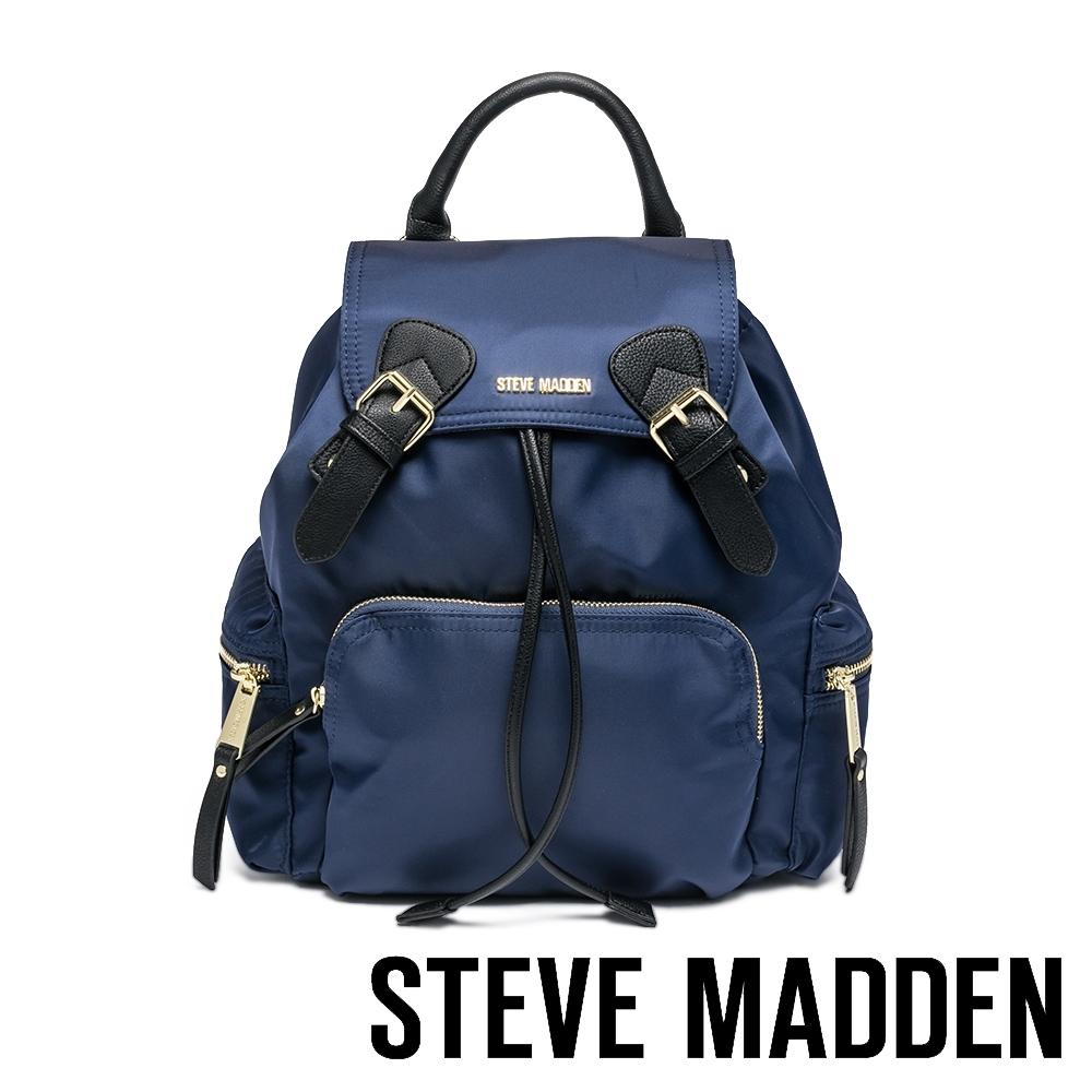 STEVE MADDEN-BSOLLY 時尚有型 超大容量軍旅後背包-藍色