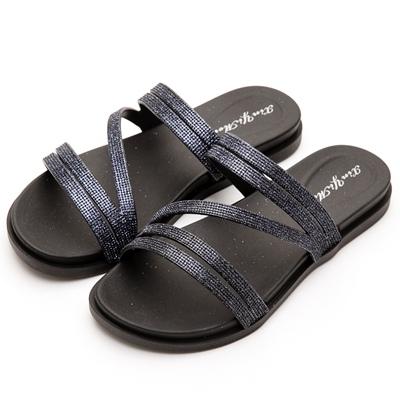River&Moon防水鞋-簡約亮蔥線條Q軟涼拖鞋-黑藍