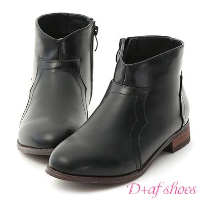 D+AF 俐落指標.V口剪裁素面平底短靴*黑