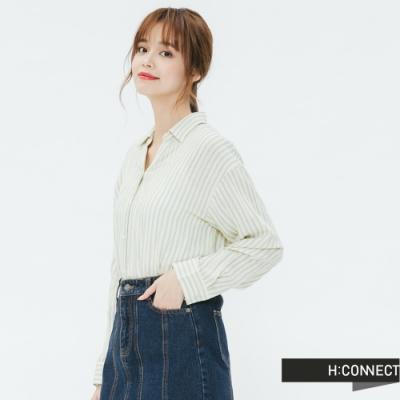 H:CONNECT 韓國品牌 女裝 -側開岔條紋配色襯衫-黃(快)