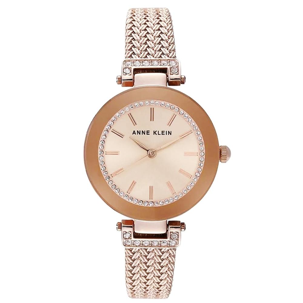 Anne Klein 奢華復古氣質腕錶-玫瑰金x30mm