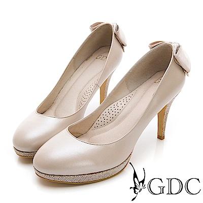 GDC-羊皮蝴蝶結溫柔氣質鑲鑽高跟新娘鞋-粉色