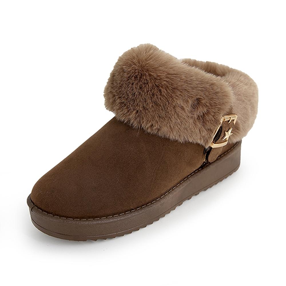 KEITH-WILL時尚鞋館 機能毛毛平底靴-卡其色