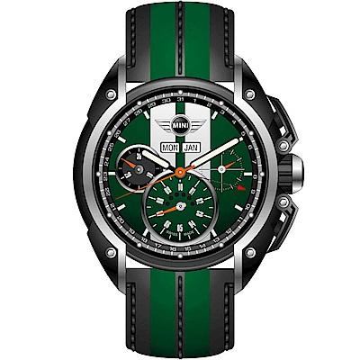 MINI Swiss Watches極速運動計時腕錶(MINI-03)-綠/皮