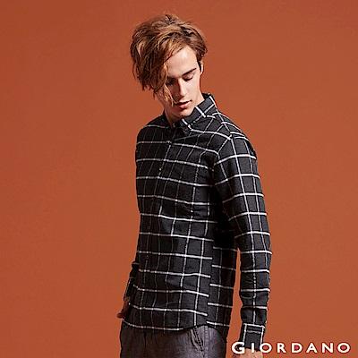 GIORDANO 男裝純棉磨毛修身單口袋長袖襯衫 - 18 灰白格紋