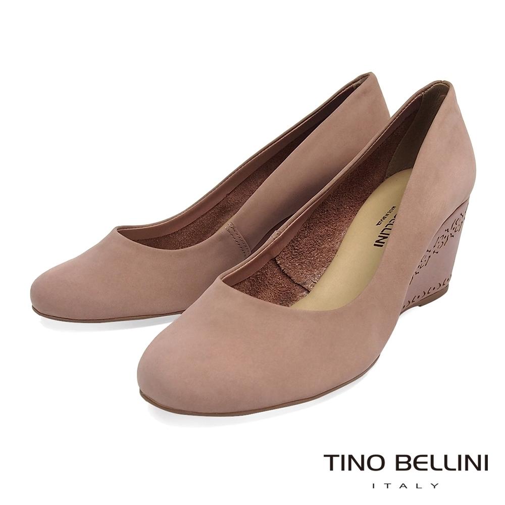 Tino Bellini 巴西進口典雅圓頭雕花跟鞋_粉