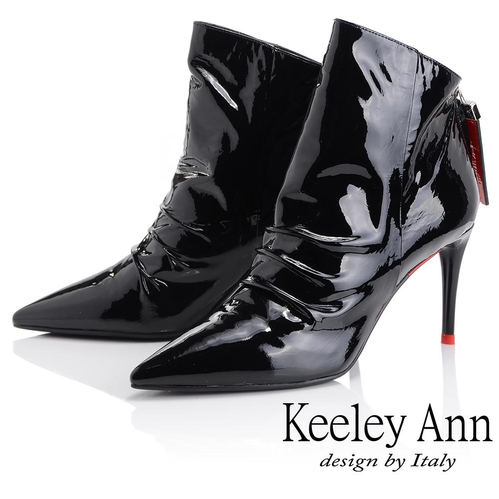 Keeley Ann 騎士風格~素面尖頭細跟全真皮短靴(黑色-Ann系列)