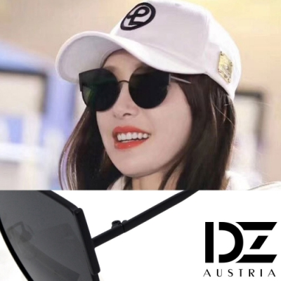 【2件59折】DZ 水滴貓眼明星款 抗UV 偏光太陽眼鏡墨鏡(黑框灰片)