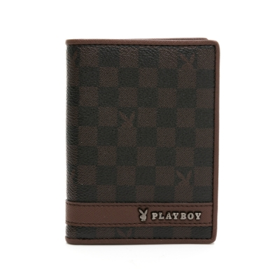 PLAYBOY - 直立式中翻短夾 CHESSBOARD系列 - 咖啡色