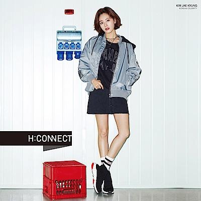 H:CONNECT 韓國品牌 女裝-復古刷色排釦裙-黑