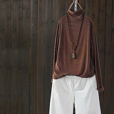 高領條紋內搭衫棉質T恤寬鬆上衣/設計所在Y5001