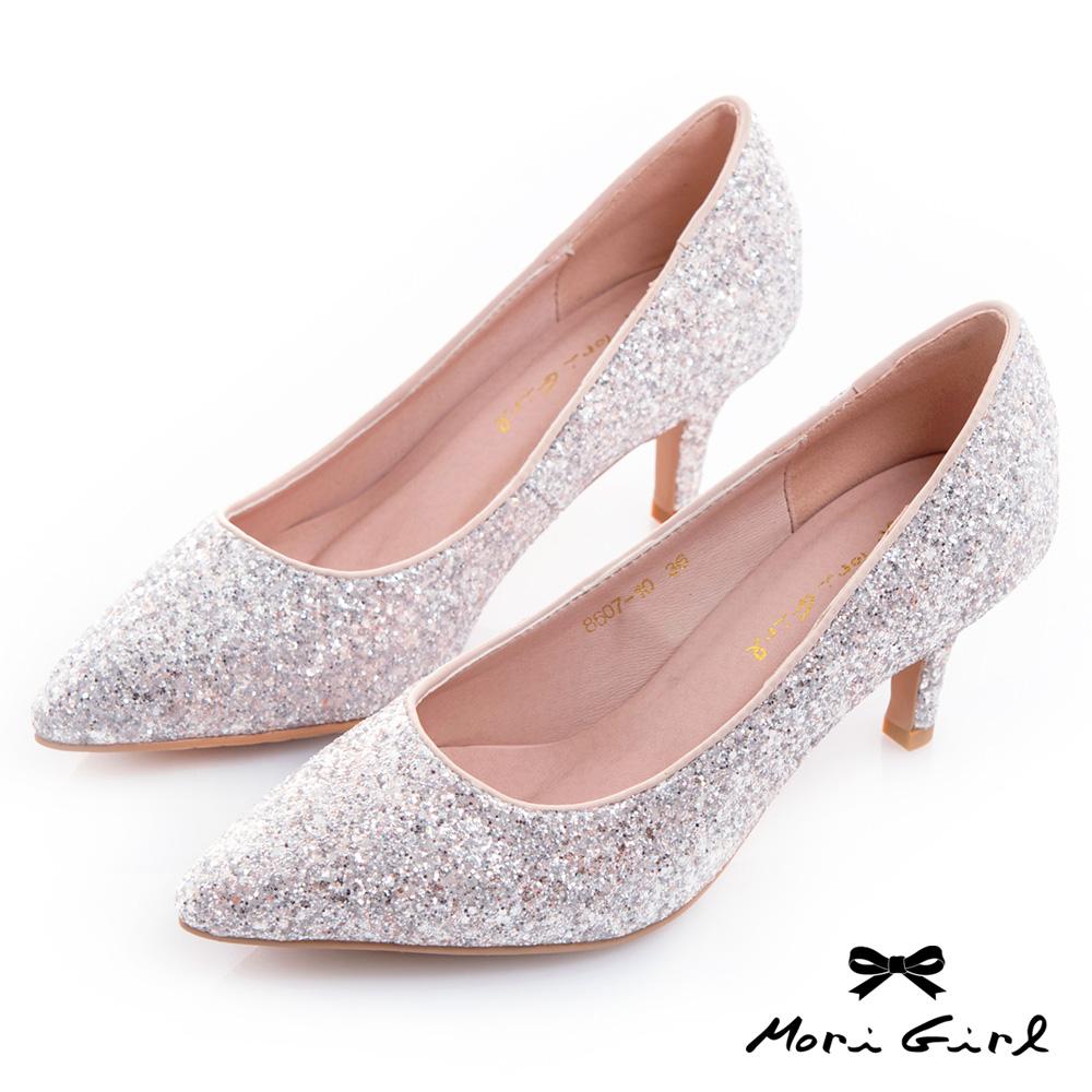 Mori girl修飾款精緻亮片中低跟鞋 銀粉