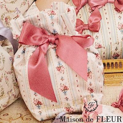 Maison de FLEUR 條紋花卉蝴蝶結絲帶束口袋