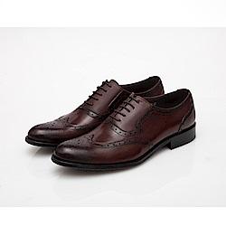 ALLEGREZZA-真皮男鞋-復古浪潮-藝紋雕花沖孔牛津鞋  咖啡紅