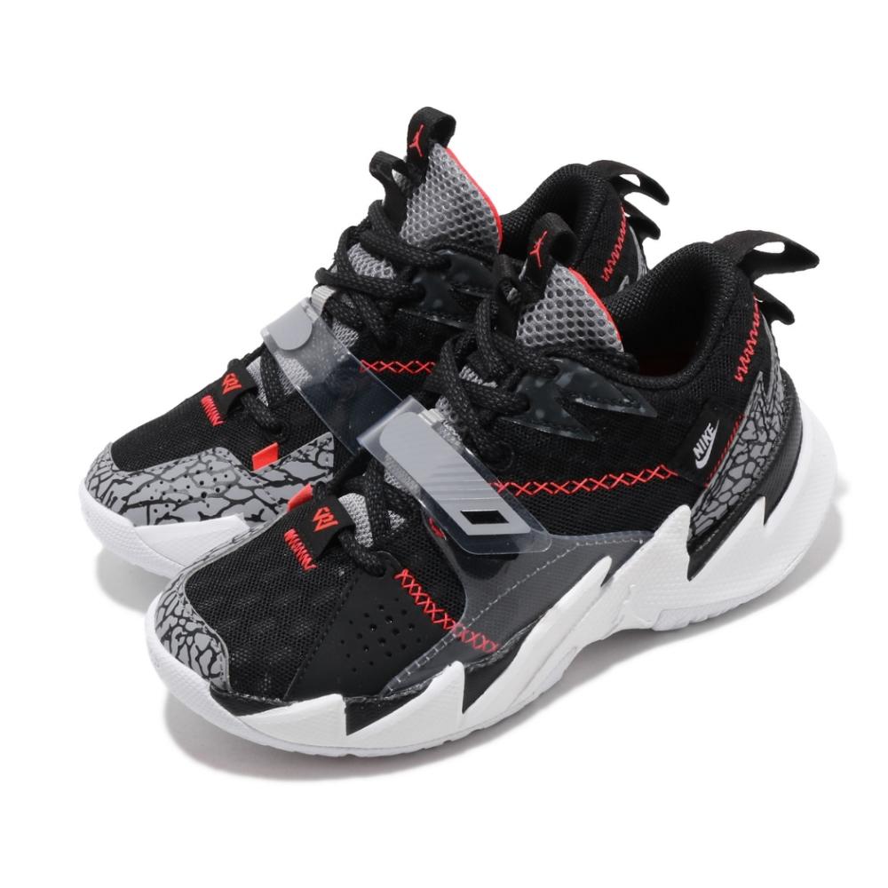 Nike 籃球鞋 Why Not Zer03 運動 童鞋 明星款 喬丹 避震 球鞋 爆裂紋 中童 黑 白 CD5805006