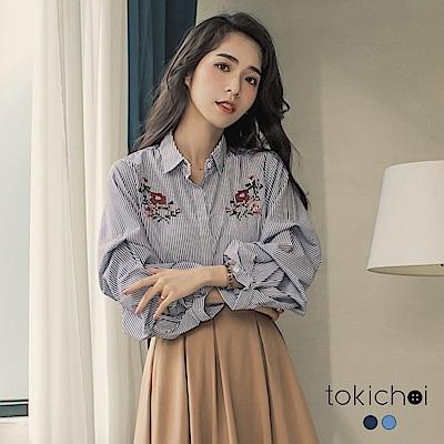 東京著衣 個性條紋拋袖刺繡襯衫(共二色)