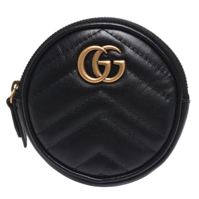 GUCCI Marmont系列仿舊金色雙G LOGO牛皮山字車紋拉鍊鑰匙/零錢包(黑)