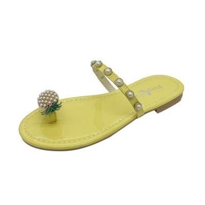 KEITH-WILL時尚鞋館 好感吸晴鳳梨珍珠拖鞋-黃