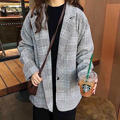 La Belleza復古格紋雙翻領單釦格子雙口袋西裝外套