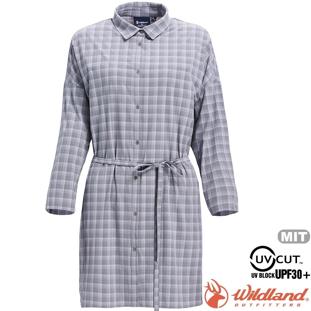 Wildland 荒野 0A71205-90灰色 女抗UV時尚格紋長袖襯衫/防曬衫