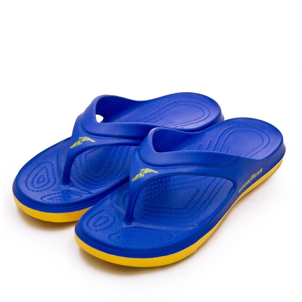 GOODYEAR 固特異  防水輕量彈力休閒運動夾腳拖鞋 寶藍黃 93766