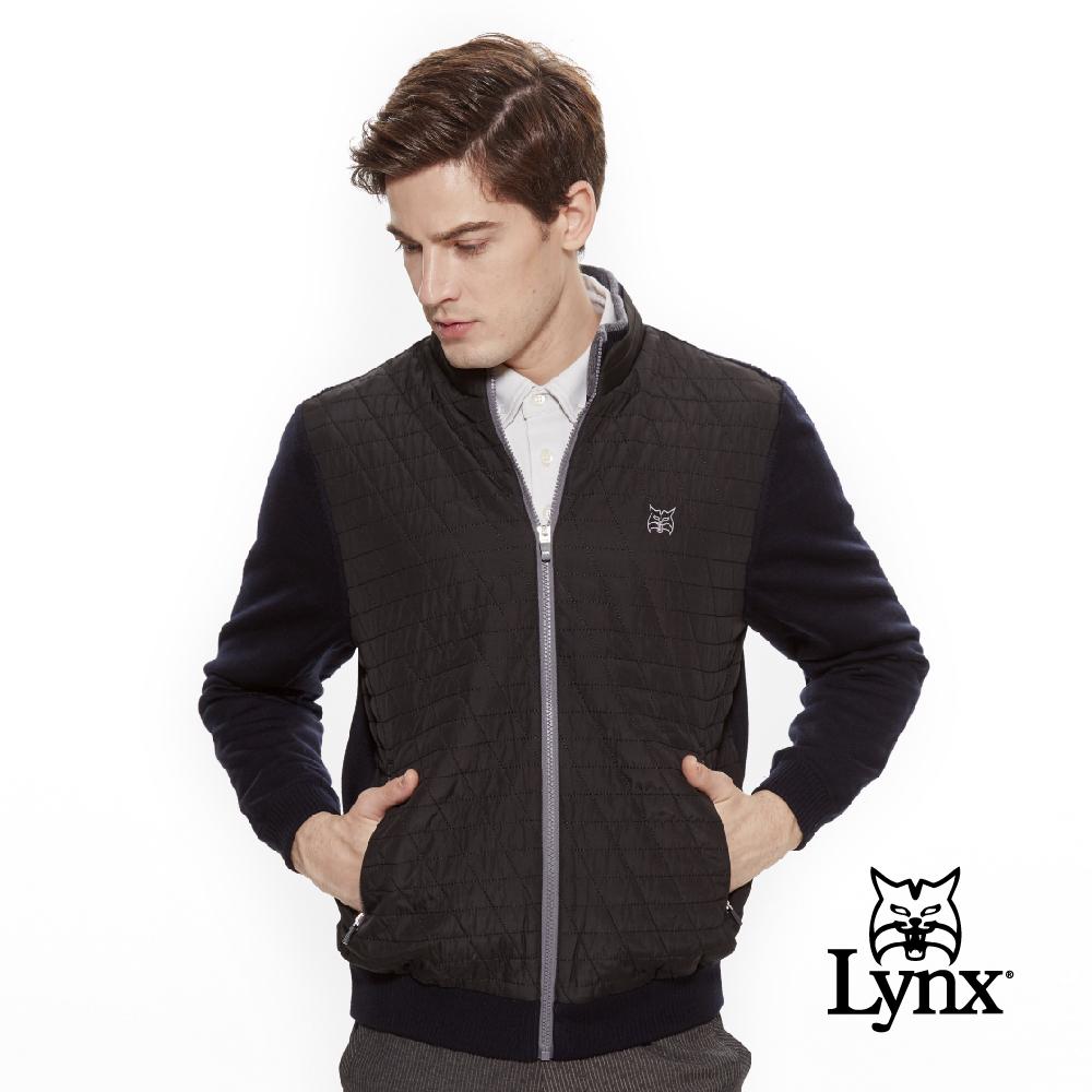 【Lynx Golf】男款防風保暖羊毛材質菱格紋剪接長袖外套-黑色