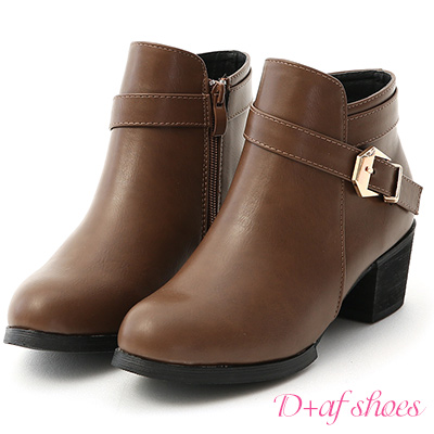 D+AF 潮流尖端.金屬釦環及踝粗跟短靴*棕