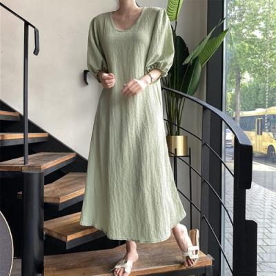 【KISSDIAMOND】秋季舒適寬鬆大碼圓領連衣裙洋裝(約會/百搭/休閒/KDD-738)