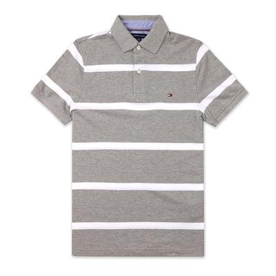 TOMMY 經典刺繡Logo短袖Polo衫-灰白條紋色