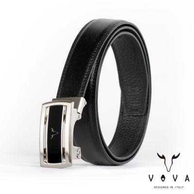 VOVA - 商務紳士簡約造型自動扣皮帶 - 亮銀色