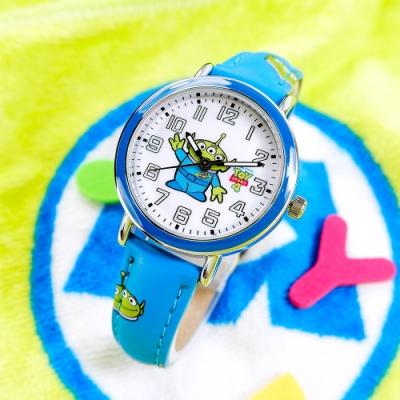 Disney 迪士尼 玩具總動員 三眼怪 日本機芯 兒童卡通錶 皮革手錶-白x藍/32mm