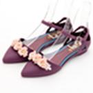 River&Moon防水鞋-晴雨二穿Q軟花花繫踝尖頭平底鞋-紫
