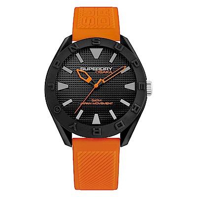 Superdry極度乾燥 休閒潮流時尚手錶-黑X橘/43mm