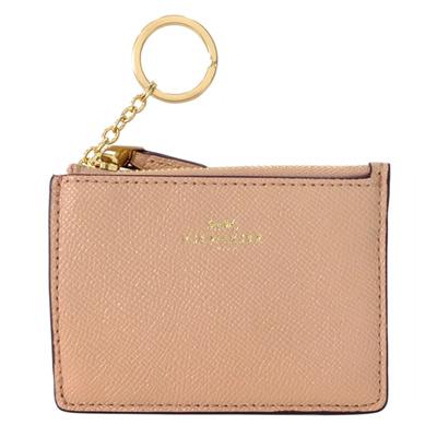 COACH裸粉色亮粉防刮皮革後卡夾鑰匙零錢包