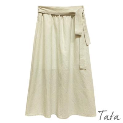 純色綁帶棉麻半身裙 共二色 TATA-F