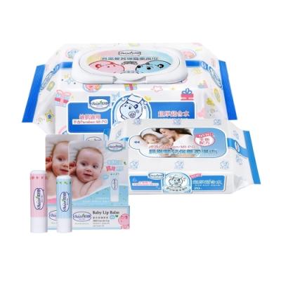 限定貝恩Baan NEW嬰兒保養柔濕巾80抽24入/箱+20抽*1 贈 貝恩嬰兒修護唇膏5g*1(口味隨機出貨)