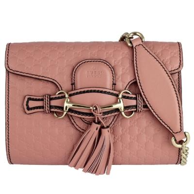 GUCCI Guccissima 粉紅色真皮雙G鏈帶翻蓋小型斜背包