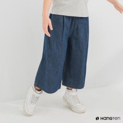 Hang Ten-女童-WIDE LEG FIT鬆緊腰頭八分丹寧褲-深藍色