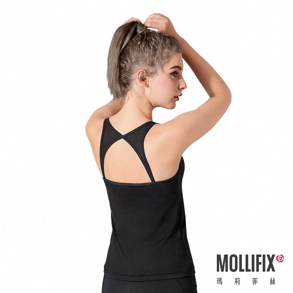 Mollifix 瑪莉菲絲 Active+ BRATOP後網運動背心 (黑)
